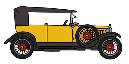 cabriolet: Hand drawing of a vintage yellow cabriolet