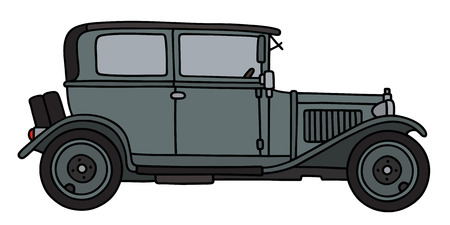 Hand drawing of a vintage gray car