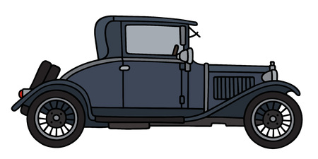 coupe: Hand drawing of a vintage dark blue coupe