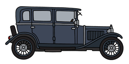 Hand drawing of a vintage dark limousine