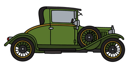 coupe: Hand drawing of a vintage green coupe