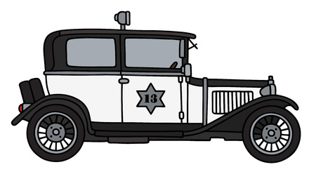 Hand drawing of a vintage police car