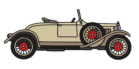 roadster: Hand drawing of a vintage roadster cream Illustration