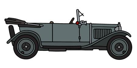 cabriolet: Hand drawing of a vintage gray cabriolet
