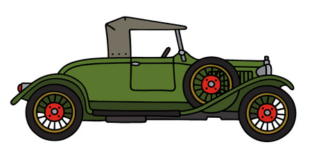 roadster: Hand drawing of a green vintage roadster
