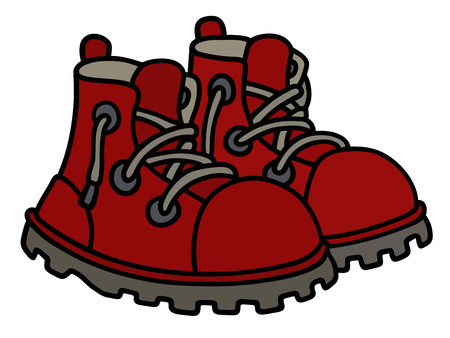 red boots: Hand drawing of funny dark red boots Illustration