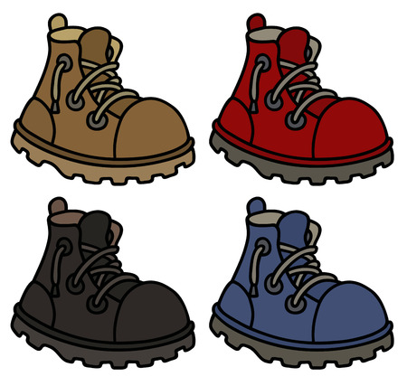 Hand drawing of a funny color leather boots