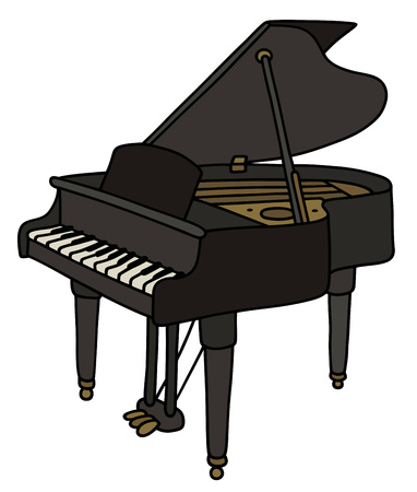 concert grand: Hand drawing of a classic black grand piano