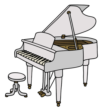chord: Hand drawing of a classic white grand piano