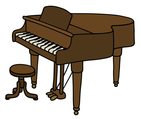 concert grand: Hand drawing of a classic grand piano Illustration