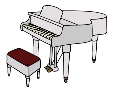 Hand drawing of a white grand piano