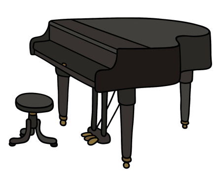 concert grand: Hand drawing of a black grand piano