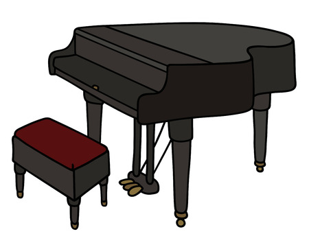 wooden stool: Hand drawing of a black grand piano
