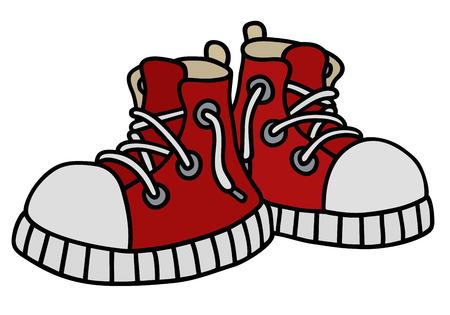 Illustrazione della mano di un divertente scarpe da ginnastica rosse