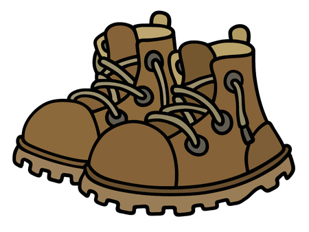 Hand drawing of funny leather boots Vetores