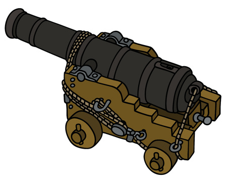 Hand drawing of a historic naval cannon