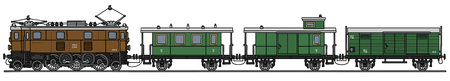 electric train: Hand drawing of an old electric train