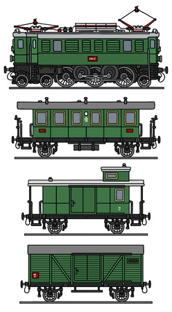 electric train: Hand drawing of an old green electric train Illustration