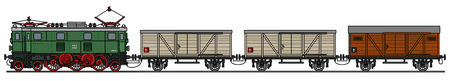 electric train: Hand drawing of an old electric train loading