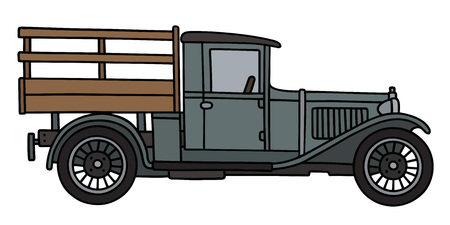 old wood farm wagon: Hand drawing of a vintage gray lorry Illustration