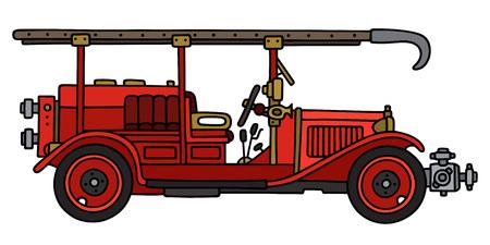 Gráfico de la mano de un camión de bomberos clásico