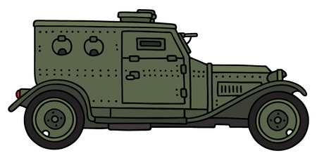 armored: Hand drawing of a vintage armored car Illustration