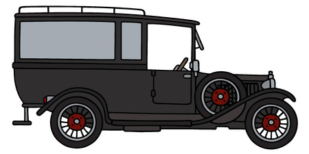hearse: Hand drawing of a vintage car funeral