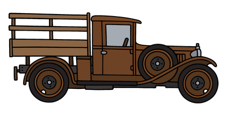 oldtimer: Hand drawing of a vintage brown truck