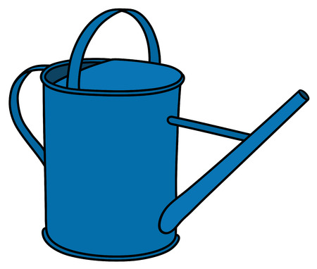 ewer: Hand drawing of a blue watering can Illustration