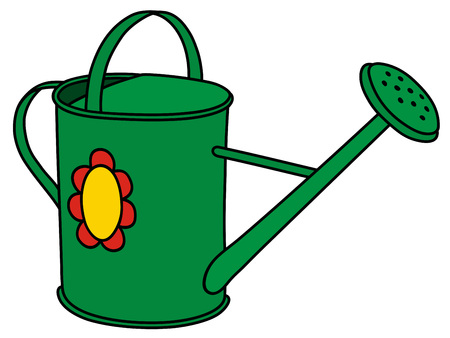 ewer: Hand drawing of a green watering can Illustration