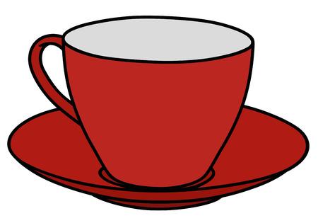 Gráfico de la mano de una taza roja Ilustración de vector