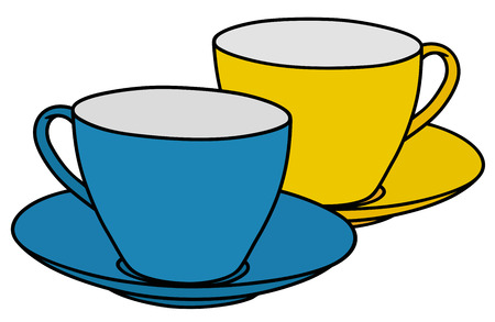 blue white kitchen: Hand drawing of blue and yellow cups