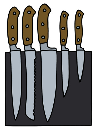 carver: Hand drawing of a set of kitchen knives
