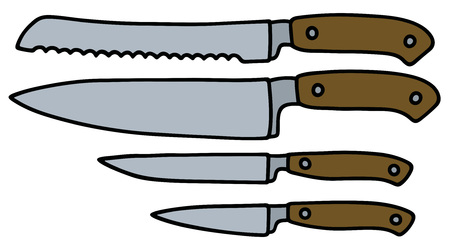 Hand drawing of four kitchen knives Vettoriali