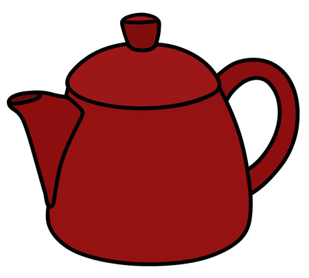 hot tub: Hand drawing of a red ceramic pot