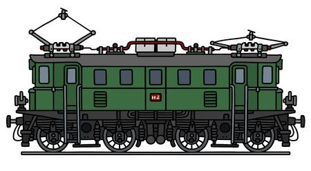 loco: Classic green electric locomotive Illustration