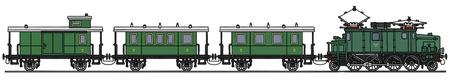 electric train: Classic Green electric train Illustration