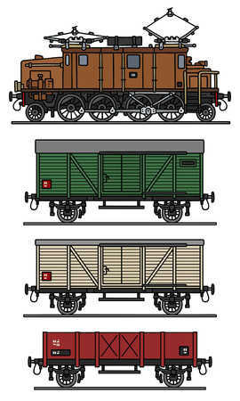 loco: Classic electric cargo train Illustration
