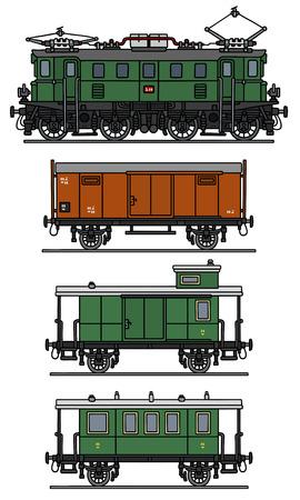 electric train: Classic Electric Train Illustration