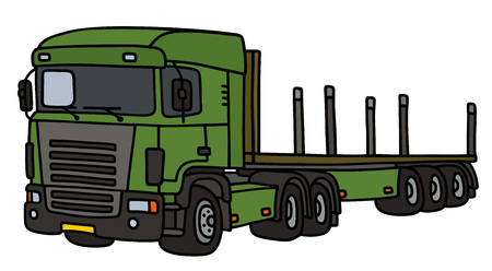 semitrailer: Towing green truck with a long flat semitrailer