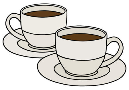 coffee cups: Hand drawing of two cups of coffee Illustration