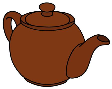 bin tub: Hand drawing of a brown ceramic pot Illustration