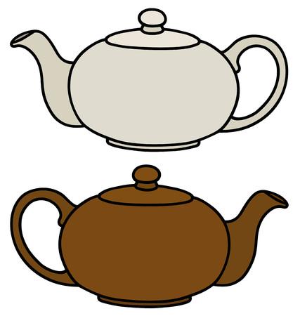 bin tub: White and brown ceramic pots