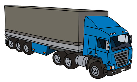 towing: Blue towing truck with a long cover semitrailer
