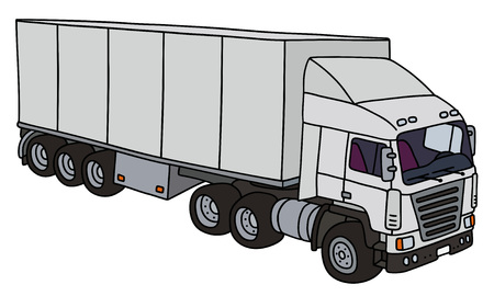 towing: White towing truck with a semitrailer