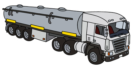 semitrailer: Towing truck with a steel tank semitrailer