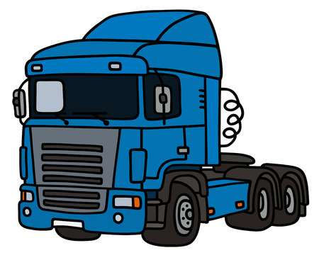 towing: Hand drawing of a funny blue truck towing Illustration
