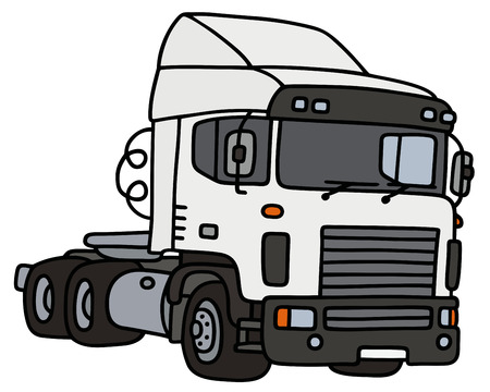 towing: Hand drawing of a funny white truck towing