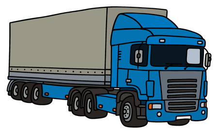 semitrailer: Blue towing truck with a cover semitrailer