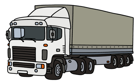 towing: White towing truck with a cover semitrailer Illustration